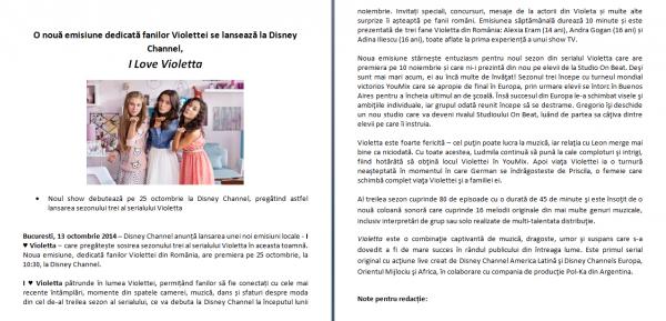 COMUNICAT DE PRESA DE LA DISNEY CHANNEL!