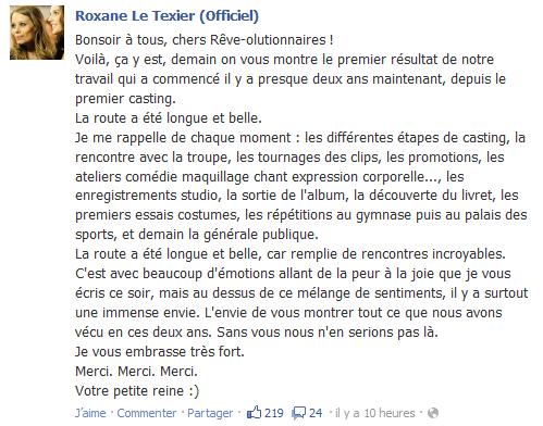 Statut Facebook de Roxane [29.09.12]