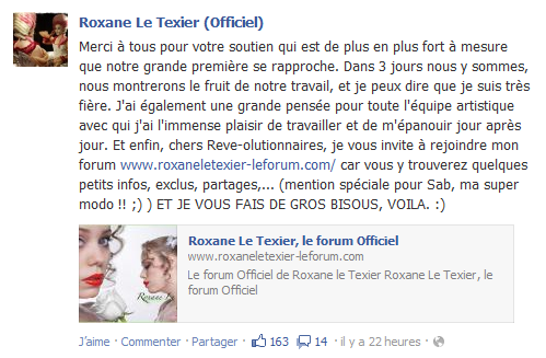 Statut Facebook de Roxane [07.10.12]