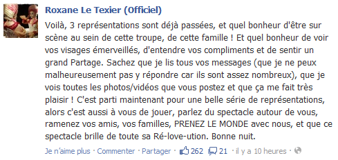 Statut Facebook de Roxane