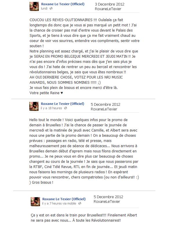 Statuts Facebook de Roxane [03.12.12 & 05.12.12]