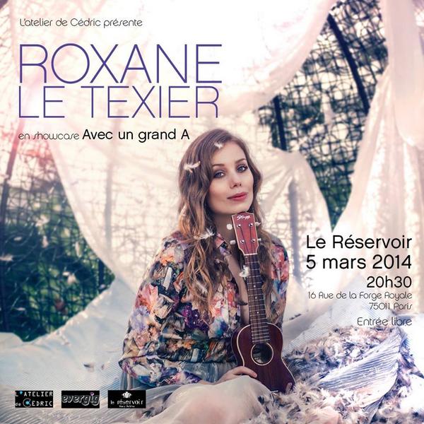 Affiche pour le concert de Roxane au Réservoir le 5 Mars prochain