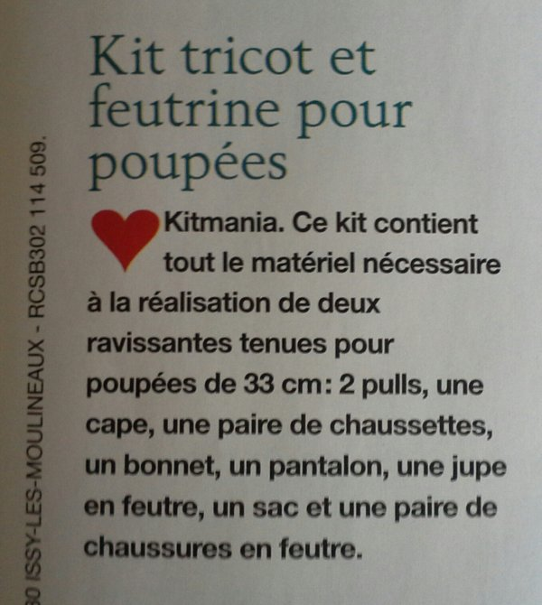 MCI n.110 -sept/oct 2015- kit tricot et feutrine....!