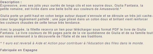Pour Franchineuse et quelques autres ..! Poupée Le monde de Jeanne et  Muse ..