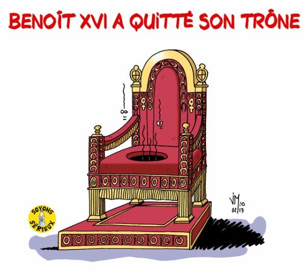 """Spécial """"Ca y est, Benoît XVI a quitté son trône"""" Dessin n° 1/2 !..."""