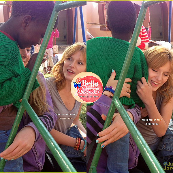 Bella Thorne Visite Sparrow Village on Afrique le 24 juin 2013 .