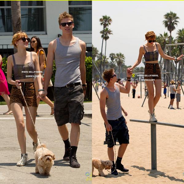 Bella et Tristan à la place de Santa Monica - 30 juin 2013.