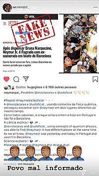 19 octobre 2018: ▬Neymar dément formellement les articles de la presse -poubelle- via une vidéo publié sur son site. Il en profite pour démentir la rumeur d'infidélité. Comment pouvait-il être a Barcelone et au Portugal au même moment ? (Il était au Portugal avec des amis) Ce n'est pas parce qu'il a pris la décision de mettre un terme à sa relation qu'il y a forcémenttromperie. C'est quoi les clichés la ?