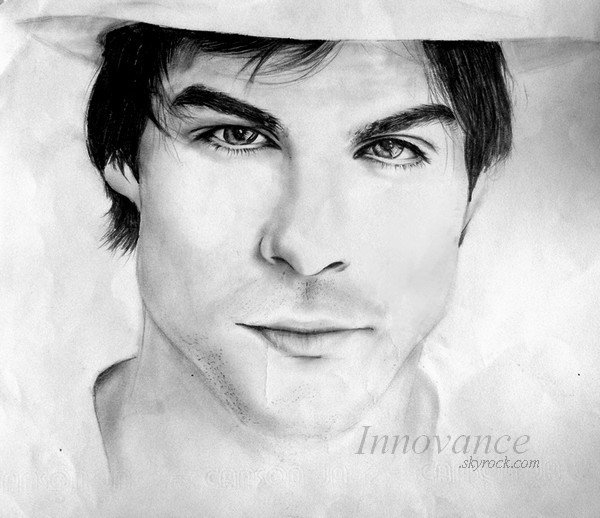 .                                                          dessin : IAN SOMERHALDER // Si tu veux être avec quelqu'un pour toujours, il faut vivre pour toujours. __Vampire Diaries                                                            .