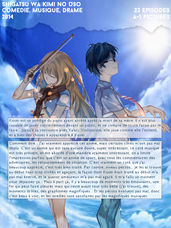 Shigatsu Wa Kimi No Uso (Your Lie in April).