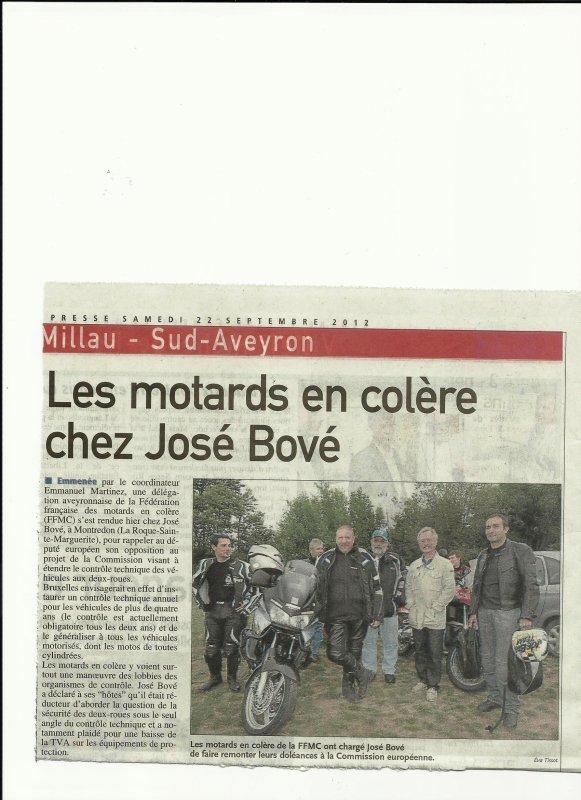 La FFMC 12 en visite Chez José Bové