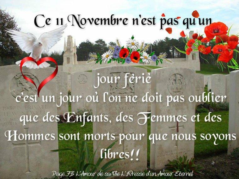 bonjour à tous mes amis(es) ... je vous souhaite une bonne journée du samedi 11 Novembre ... bisous Josie