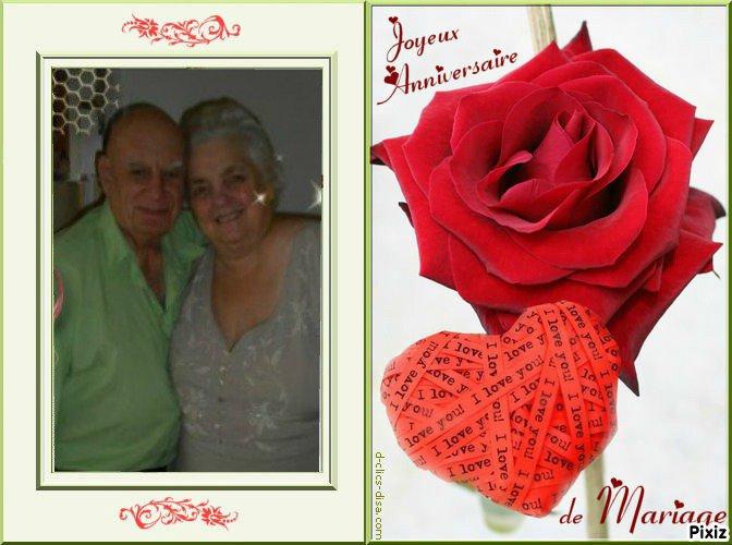 Joyeux Anniversaire Nicole et Roland pour vos 52 ans de Mariage .. Félicitations et meilleurs voeux de bonheur, je souhaite que ça dure encore longtemps ..... Mille bisous du (l) Josie