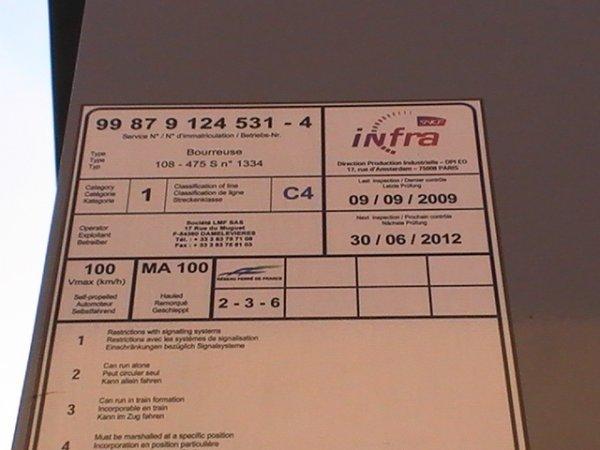 Bourreuse d'appareil 108 475 S - 99 87 9 124 531-4 - LMF