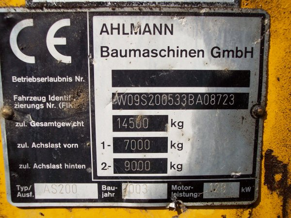 Chargeur Ahlmann AS200 - W09S200533BA08723 - Somatec