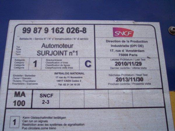 Automoteur Surjoint n°1 - 99 87 9 162 026-8 - SNCF-RO