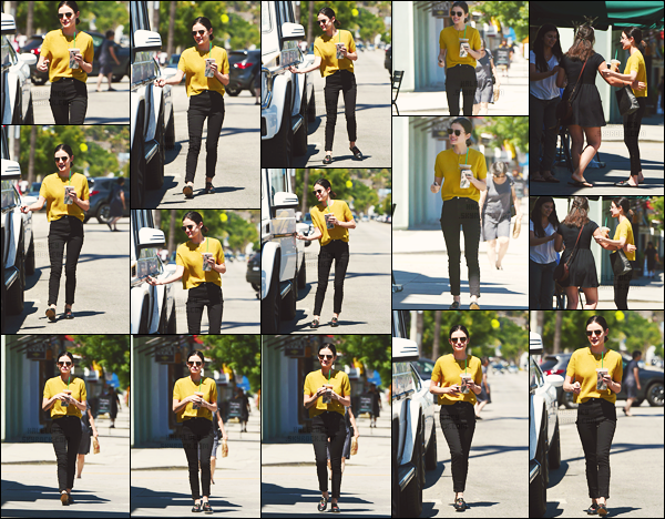 ''─ '27 JUIN 2017:''  Notre magnifique Lucy K. Hale à été vue avec sa petite boisson parlant à des fans dans Los Angeles. Lu' est un ange et on peut le voir une fois de plus puis elle prend le temps pour nous, un amour. Un big top pour le look, j'aime trop !