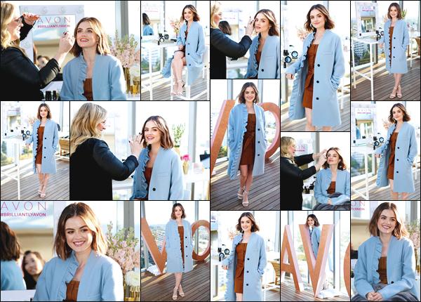 ''• '22/02/18:''   Lucy Kate Hale s'est rendue au lancement de Avon New Glow Collection se situant dans Los Angeles. La belle était vêtue d'une petite robe brune ainsi que d'une vest bleu ! Je lui accorde un grand top pour sa tenue, quel est ton avis ?