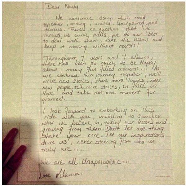 Rihanna écrit une lettre pour ses fans