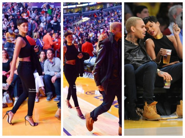Rihanna à un match de basket à Los Angeles