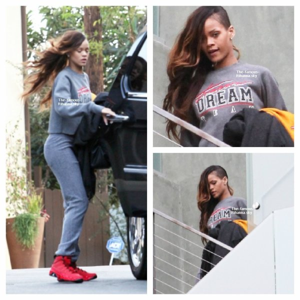 Rihanna sur le balcon de la résidence de Chris Brown à Los Angeles