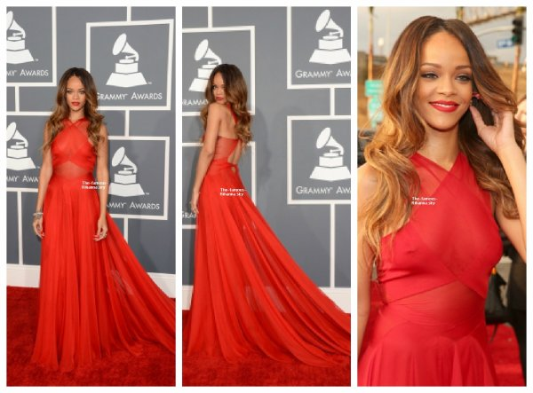 "Rihanna sur la tapis rouges des "" Grammy Awards """