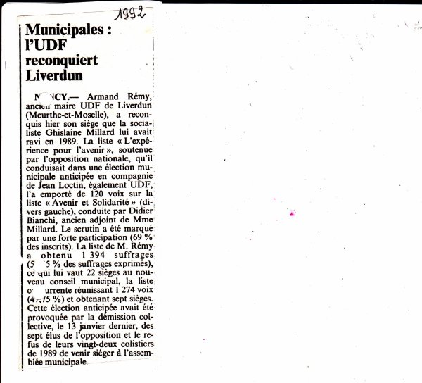 Liverdun : l'élection municipale ( anticipée) de mars 1992 .