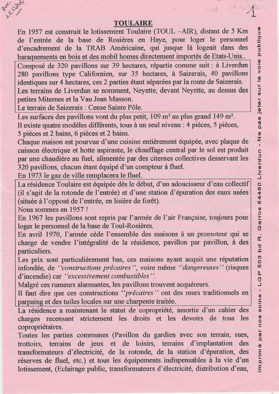 Liverdun : l'histoire de TOULAIRE ...et de la base de Rosières . ( I ) .