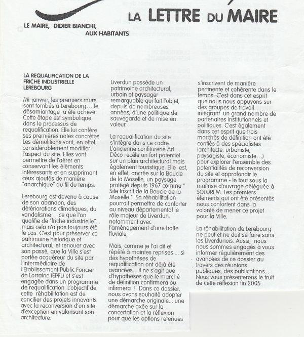 Liverdun : Evolution du village . ( V )