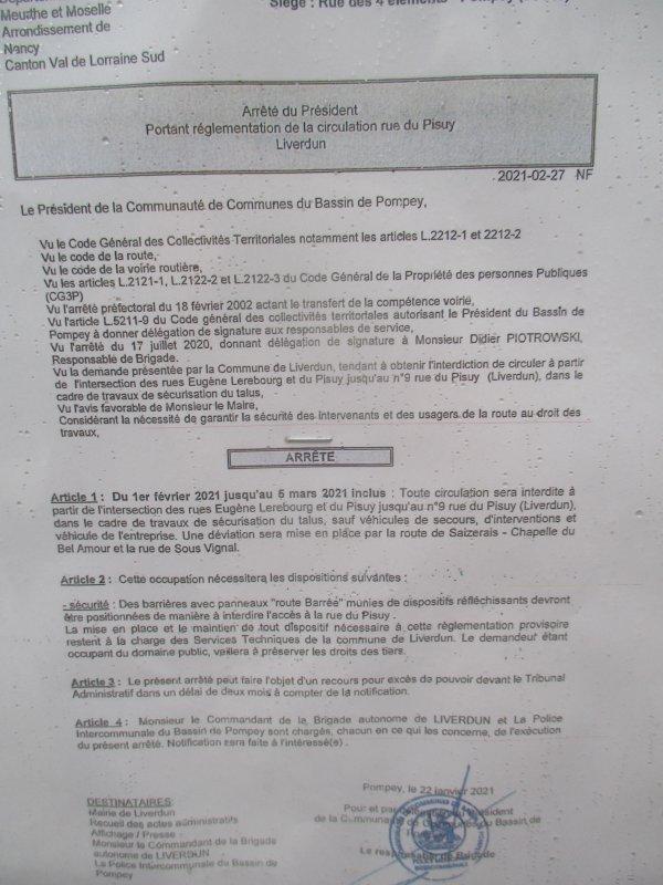 Liverdun :  Fermeture de la route du Pisuy .