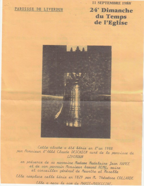 Décès de l'abbé Claude Deschien .