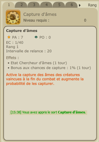 Obtention du sort capture d'âmes