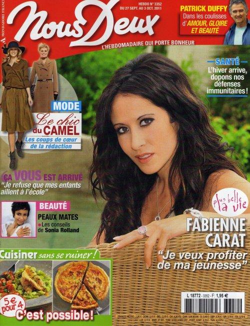 """Fabienne à la une de """"Nous Deux"""" du 27 septembre au 3 octobre 2011"""