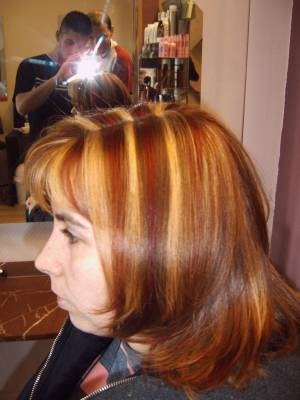 mèche blond clair dorer rouge violinne - SANS RENDEZ VOUS DU LUNDI AU SAMEDI COIFURE...