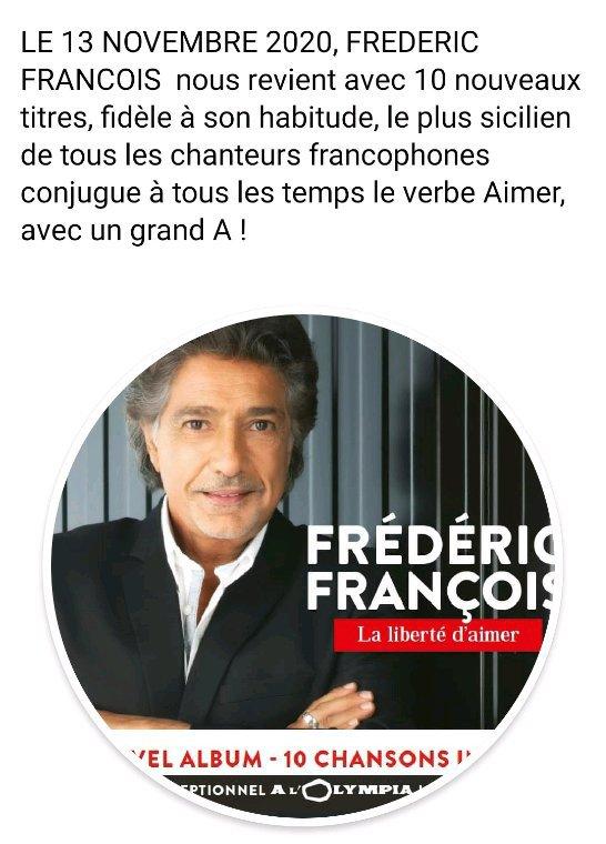 Pour vous mes amies fan de Frédéric François  ,nouvel album  bientôt