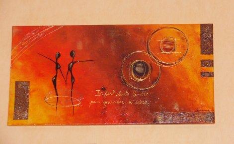 Les silhouettes en orange-chocolat      50 x 80