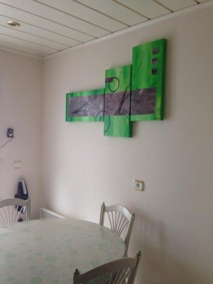 Triptyque Abstrait  Vert Pomme - Taupe    3 x  30x60