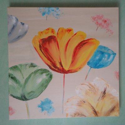 Fleurs multicolores   50 x 50