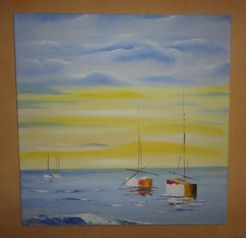 Les bateaux par mer calme  60 x 60