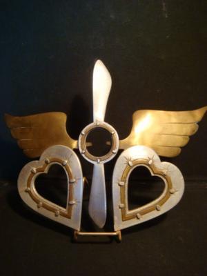 Cadre photo souvenir de l'aviation avec 2 coeurs en aluminium