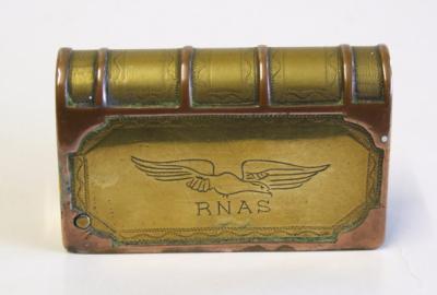 Briquet livre gravé RNAS (Royal Navy Air Service) avec emblème de l'aigle
