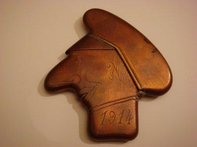 Briquet kronprinz tout en cuivre avec liseret de la casquette en laiton