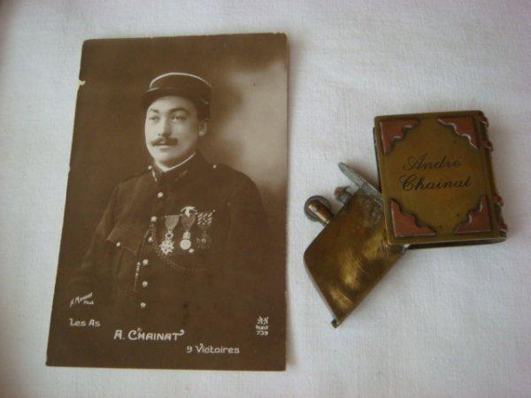 Briquet de l'aviateur André CHAINAT (1892-1961), membre de l'Escadrille des Cigognes, As de la Grande Guerre