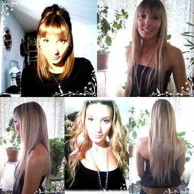 Adeline avec des extensions à clips naturelles Châtain Clair Méché Blond