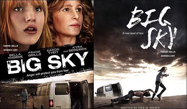 Découvrez deux posters et quelques stills du flm « Big Sky » dans lequel Bella joue. Tout d'abord, le film sortira dans les salles le 14 Août aux USA. Par ailleurs, le film retrace l'histoire d'une mère (Dee) et de sa fille (Hazel) qui partent dans le désert dans le but d'aider cette dernière à gérer ses crises d'Agoraphobies. (Peur des lieux publics, par exemple). Mais lorsqu'elles se font attaquer par Jesse et Pru, Hazel n'a pas d'autres choix que de surmonter ses peurs et se battre pour que sa mère et elle survivent.