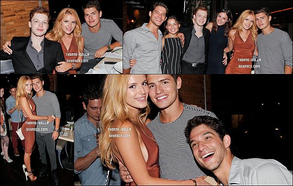17/08/15 : Bella et Gregg étaient invités à la soirée d'anniversaire de Cameron Monaghan, qui a fêté ses 22 ans. Tyler Posey et Danielle Campbell étaient également de la partie. Ils avaient tous l'air de passer un bon moment. + Un top pour Bella. [/font=Arial]