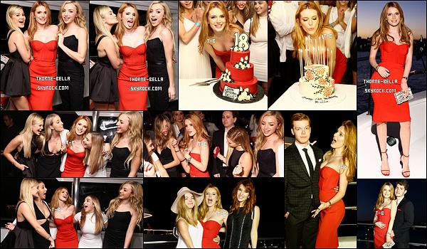 10(+11)/10/15 : Une fête d'anniversaire a été organisée pour Bella sur un sublime bateau avec tous ses amis. Il y avait Gregg et Halston Sage entre autres. Le gâteau avait l'air excellent et la robe qu'elle porte est sublime. Un beau top pour moi ![/font=Arial]