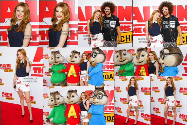 * 12.12.15 - Bella Thorne était à la première de son nouveau film Alvin and The Chipmunks: The Road Trip, à Los Angeles !  *