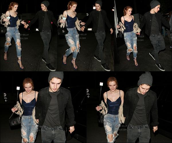 23/01/16 : Bella et Gregg, nos amoureux inséparables, ont été vus au « Nice Guy », dans West Hollywood. Après quasiment deux semaines sans news, on retrouve Bella en compagnie de son chéri. Ca fait plaisir de les revoir ensemble ! Un top.[/font=Arial]
