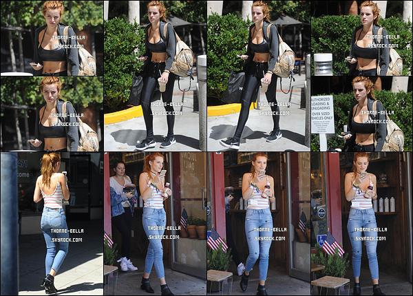 06/09/16 : Notre Bella Thorne a été repérée seule alors qu'elle se rendait à la salle de sport dans Beverly Hills. C'est donc dans une tenue de sport que nous la retrouvons. Puis, elle a été aperçue achetant un jus de fruit, toujours à Beverly Hills.[/font=Arial]